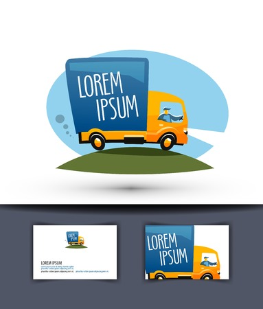 cargo truck: delivery. truck driving on a road on a white background. vector illustration