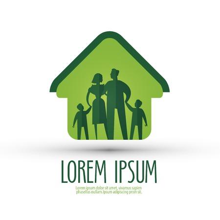 Familie in einem Haus auf einem weißen Hintergrund. Vektor-Illustration