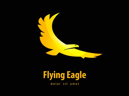 Flying eagle on a black background. vector illustration Vector