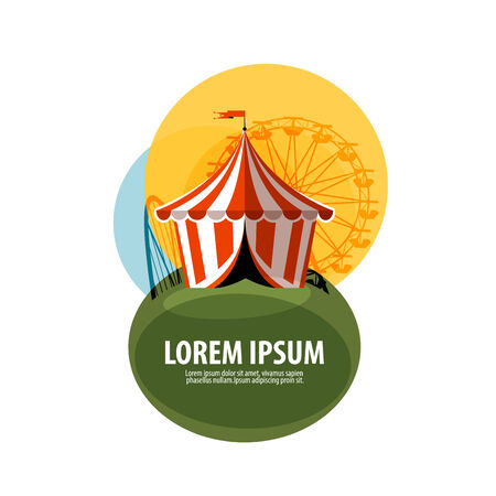 roller coaster: circus tent on a white background. vector illustration