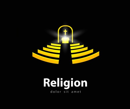 church interior: abstraction. interior of the church on a black background. vector illustration