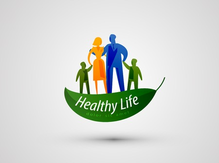 healthy environment: Abstraction. Family and ecology on a gray background. vector illustration