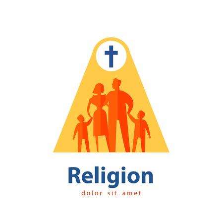 familia en la iglesia: la religión y la familia sobre un fondo blanco. ilustración vectorial