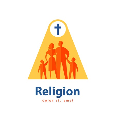 people in church: religion and family on a white background. vector illustration Illustration
