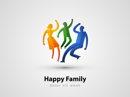 family unity: abstraction. happy family on a gray background. vector illustration Illustration