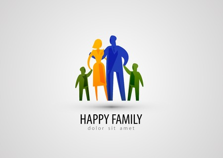 parents and children on a gray background. vector illustration