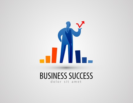 growing business: businessman and statistics on a gray background. vector illustration