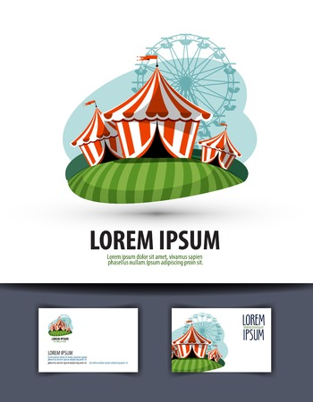 circus arena: circus tent on a white background. vector illustration