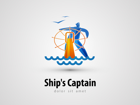 dockyard: the ships captain and a steering wheel on a gray background. vector illustration Illustration