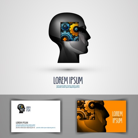 philosophy: abstraction. head of a man and gear. vector illustration Illustration