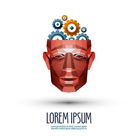 Education icon:  human head and gears on a white background.  Illustration