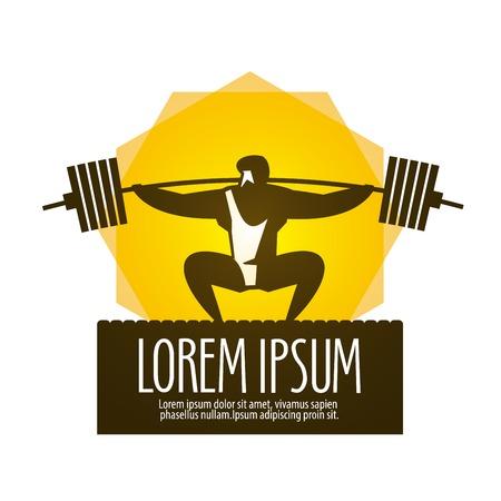 levantar pesas: levantamiento de pesas. atleta y un bar sobre un fondo blanco. ilustraci�n vectorial Vectores