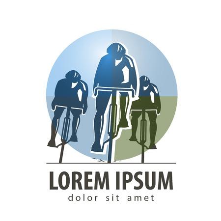 silueta ciclista: Sport. ciclismo sobre un fondo blanco. ilustración vectorial Foto de archivo