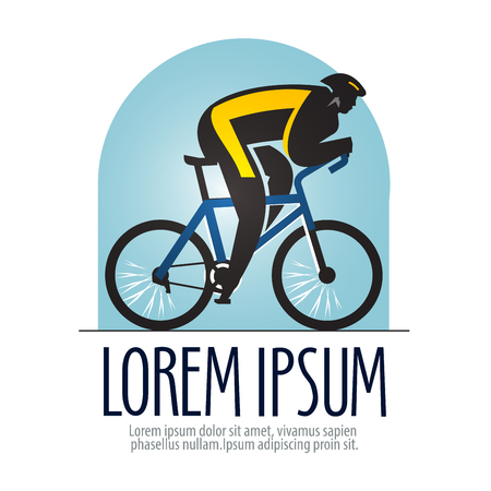 Sport. cyclist on a sports bike on a white background. vector illustration