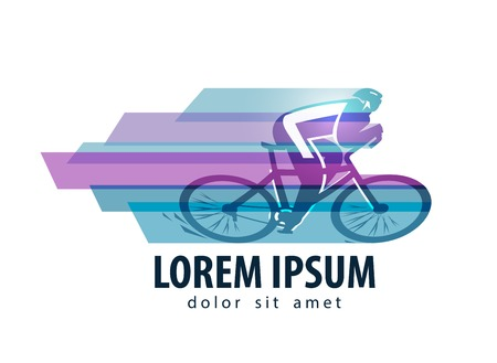 triathlon: abstraction. cyclist and speed on a white background. vector illustration