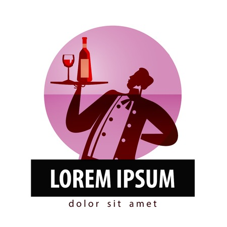 alcoholic drinks. a man with a tray on a white background. vector illustration Vector