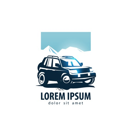 transport logo: car and mountains on a white background. vector illustration