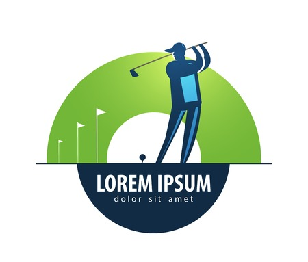 Sport. playing golf on a white background. vector illustration Vector