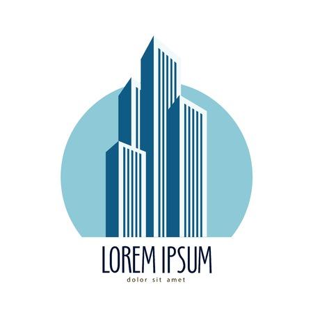 CONSTRUCTION LOGO: metropolis. building on a white background. vector illustration
