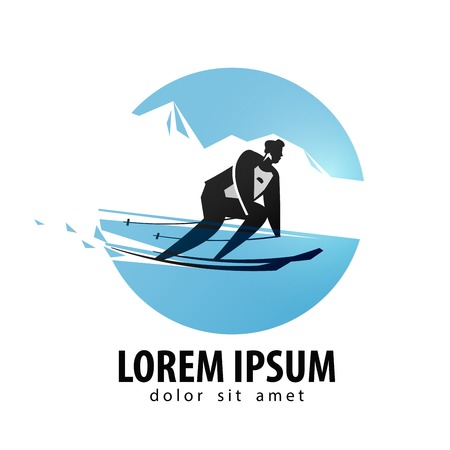 skier vector design template. skis or sports icon.