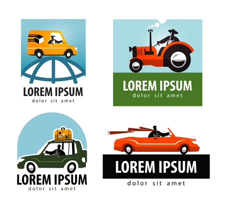 cartoon tractor: collection of coloured car on white background. vector illustration Illustration