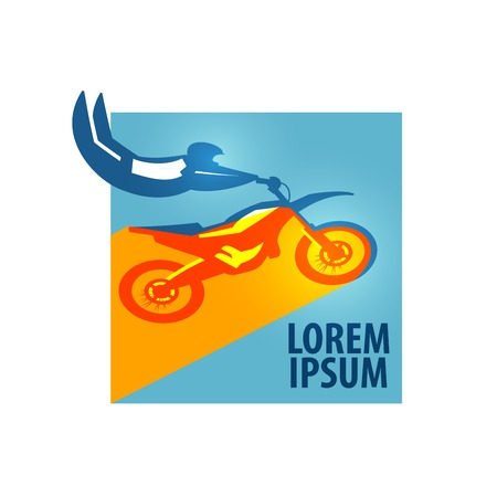 off road biking: Sport. the athlete jumps on a motorcycle on a white background. vector illustration Illustration