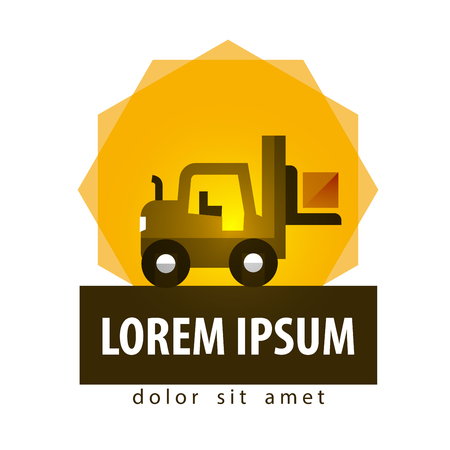 logistics. fork lift truck and box on a white background. vector illustration Vector