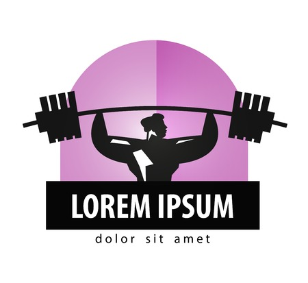 levantar pesas: gimnasio. atleta y la fuerza sobre un fondo blanco. ilustraci�n vectorial
