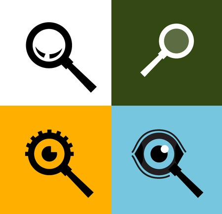 zoom in: collection. a magnifying glass on a white background. vector illustration Illustration