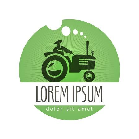 logo de comida: alimento natural. tractor y la agricultura en un fondo blanco. ilustraci�n vectorial