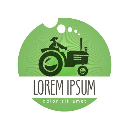 farmer: natural food. tractor and agriculture on a white background. vector illustration