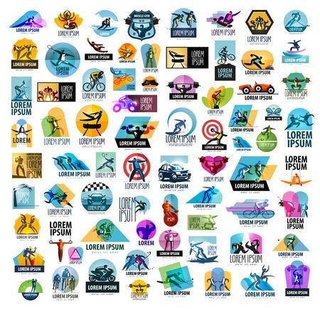saludable logo: una gran colección de los deportes y atletas sobre un fondo blanco. ilustración vectorial