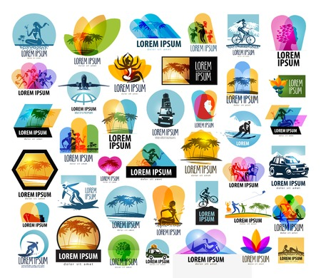 solarium: a large collection of tourism and travel on a white background. vector illustration Illustration