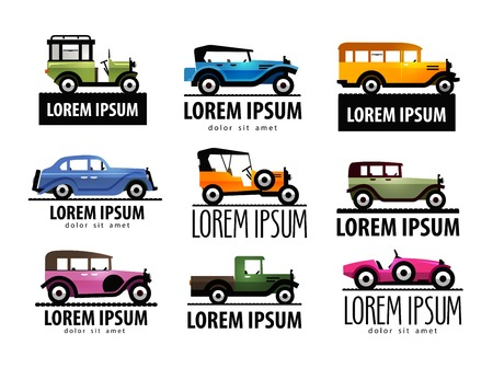 a large collection of vintage cars on a white background. vector illustration Vector