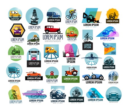 A large collection of cars on a white background. vector illustration