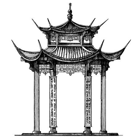 スケッチ。白い背景の上の寺院。ベクトル イラスト