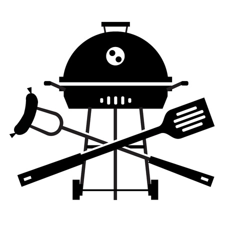 simple silhouette. Barbecue on a white background. vector illustration Ilustração