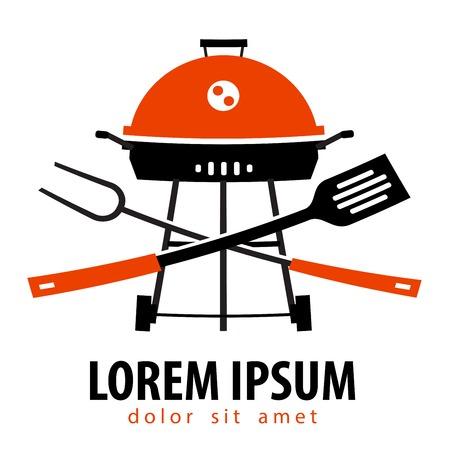 ristorante: semplice silhouette. Barbecue su uno sfondo bianco. illustrazione vettoriale Vettoriali