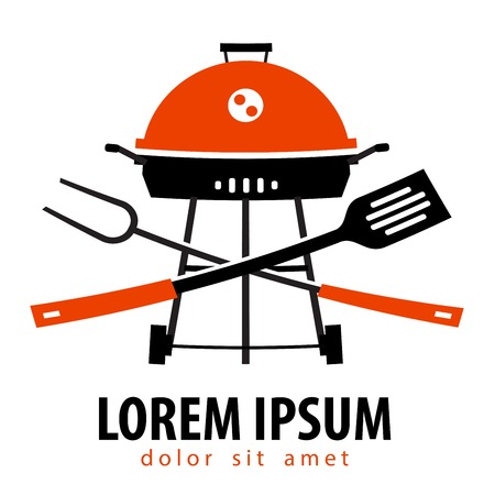 bbq picnic: simple silhouette. Barbecue on a white background. vector illustration Illustration