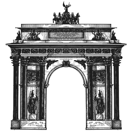 chariot: Sketch. architecture of Germany on a white background. vector illustration Illustration