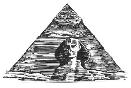 esfinge: Pirámide egipcia sobre un fondo blanco. ilustración vectorial