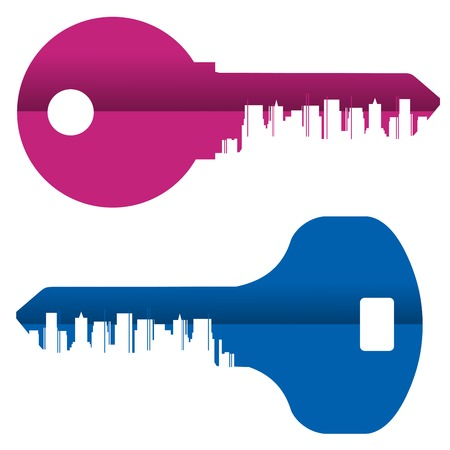 property development: colored keys on a white background. vector illustration Illustration