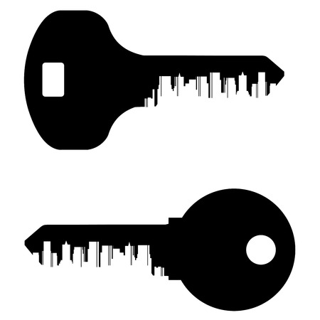 keys and the city on a white background. vector illustration Vector