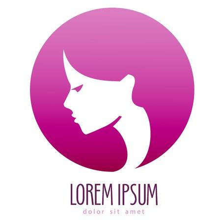 logos empresa: cara de mujer hermosa en un fondo blanco. ilustración vectorial