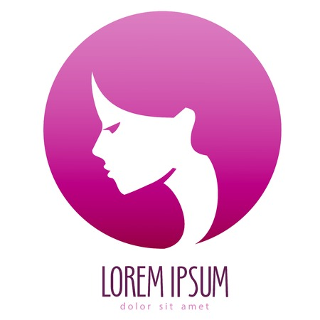 round logo: face of beautiful woman on a white background. vector illustration