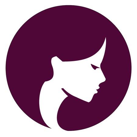 perfil de mujer rostro: la cara de una chica joven en un fondo blanco. ilustración vectorial Vectores