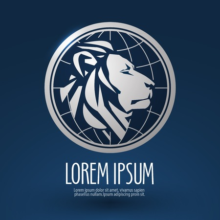 company profile: abstract lion on a blue background. vector illustration