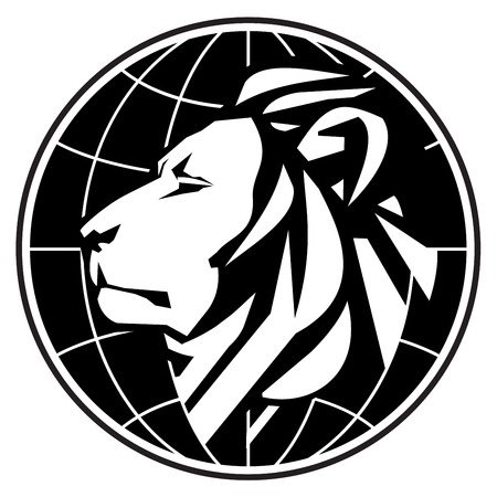 the stylized lion on a white background. vector illustration Vector