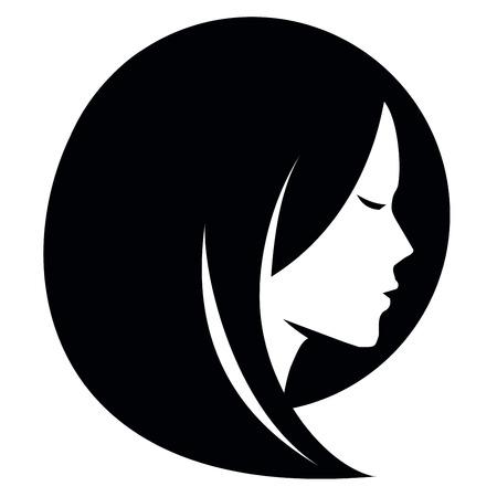 白い背景の上の女の子の頭。ベクトル イラスト  イラスト・ベクター素材