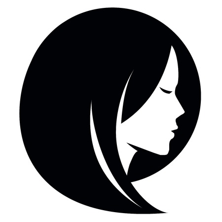 simple girl: girl head on a white background. vector illustration Illustration